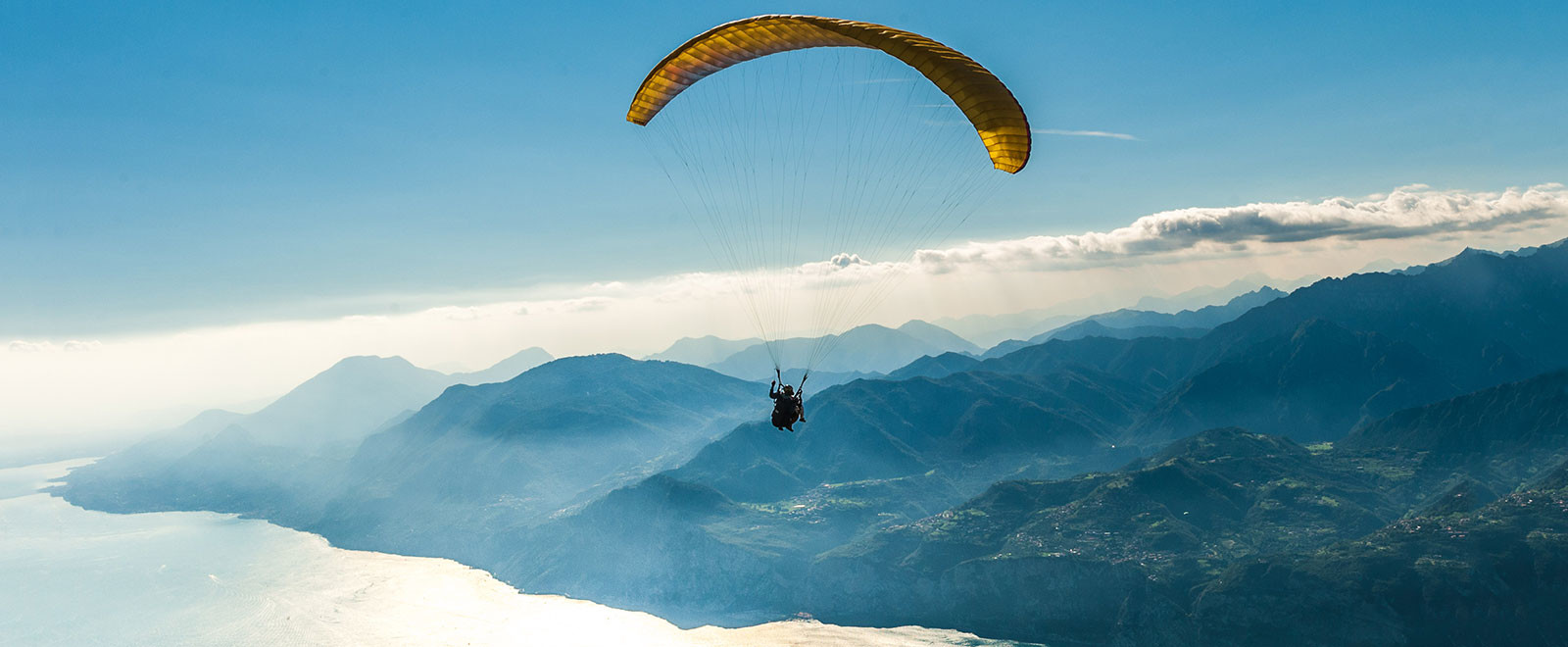 tandem flight at lake garda with a paragliding pilot